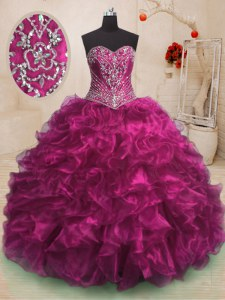 Dynamic Sweetheart Sleeveless Sweep Train Lace Up Quinceanera Dresses Fuchsia Organza