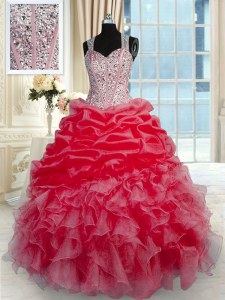 Best Selling Red Sleeveless Floor Length Beading and Ruffles Zipper 15 Quinceanera Dress