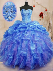 Stylish Floor Length Blue Sweet 16 Dress Organza Sleeveless Beading and Ruffles