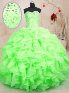 Comfortable Floor Length Lace Up 15th Birthday Dress for Military Ball and Sweet 16 and Quinceanera with Beading and Ruffles