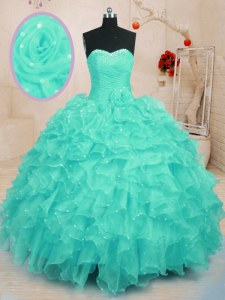 Turquoise Sweetheart Neckline Beading and Ruffles and Hand Made Flower Ball Gown Prom Dress Sleeveless Lace Up