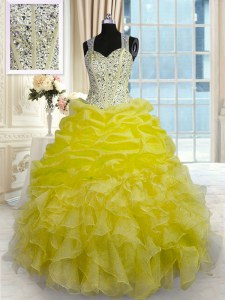 Free and Easy Yellow Zipper Straps Beading and Ruffles Sweet 16 Dress Organza Sleeveless
