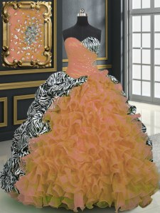 Orange Organza and Printed Lace Up Sweet 16 Quinceanera Dress Sleeveless With Brush Train Beading and Ruffles and Pattern
