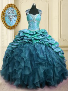Deluxe With Train Teal Sweet 16 Dress Organza and Taffeta Brush Train Cap Sleeves Beading and Ruffles and Pick Ups