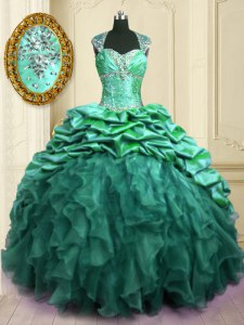 Turquoise Organza and Taffeta Lace Up Quinceanera Gowns Cap Sleeves With Brush Train Beading and Ruffles and Pick Ups