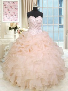 Exceptional Sleeveless Beading and Ruffles Lace Up Quince Ball Gowns