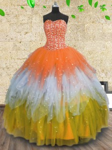 Sequins Floor Length Multi-color 15 Quinceanera Dress Sweetheart Sleeveless Lace Up