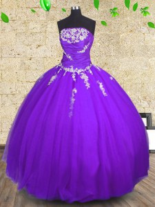 Sleeveless Floor Length Appliques and Ruching Lace Up Quince Ball Gowns with Purple