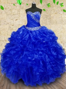 Top Selling Royal Blue Ball Gowns Beading and Ruffles and Ruching Ball Gown Prom Dress Lace Up Organza Sleeveless Floor Length
