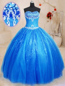 Royal Blue Ball Gowns Beading and Appliques Sweet 16 Dress Lace Up Tulle and Sequined Sleeveless Floor Length