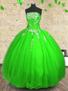 Comfortable Floor Length Quinceanera Dress Tulle Sleeveless Appliques