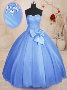 Smart Sleeveless Beading and Bowknot Lace Up Sweet 16 Quinceanera Dress