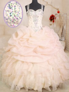 Most Popular Beading and Ruffles and Pick Ups Quinceanera Dresses Pink Zipper Sleeveless Floor Length