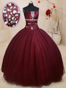 Sleeveless Tulle Floor Length Lace Up Quinceanera Dress in Burgundy with Beading
