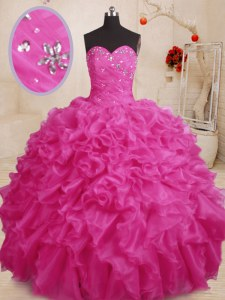 Romantic Hot Pink Ball Gowns Organza Sweetheart Sleeveless Beading and Ruffles Floor Length Lace Up 15 Quinceanera Dress