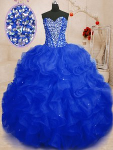 Fancy Royal Blue Sleeveless Organza Lace Up Sweet 16 Quinceanera Dress for Military Ball and Sweet 16 and Quinceanera