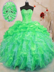 Green Ball Gowns Organza Sweetheart Sleeveless Beading and Ruffles Floor Length Lace Up Quince Ball Gowns