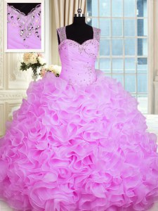 Fashionable Rose Pink Sleeveless Floor Length Beading and Ruffles Zipper Sweet 16 Dress