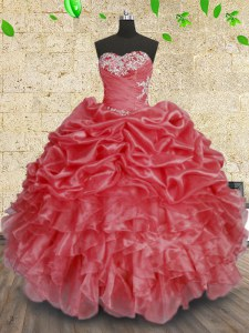 Sleeveless Floor Length Beading and Appliques and Ruffles and Ruching Lace Up 15th Birthday Dress with Coral Red