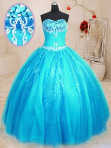 Exceptional Baby Blue Ball Gowns Sweetheart Sleeveless Tulle and Sequined Floor Length Lace Up Beading and Appliques Sweet 16 Dress