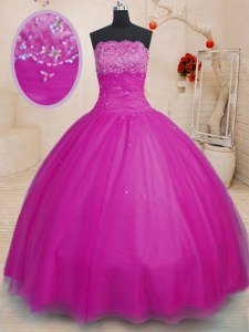 Tulle Strapless Sleeveless Lace Up Beading Quinceanera Dress in Fuchsia