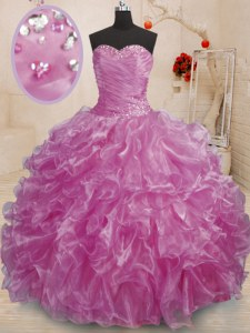 Beautiful Lilac Ball Gowns Beading and Ruffles Vestidos de Quinceanera Lace Up Organza Sleeveless Floor Length