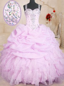 Beautiful Straps Sleeveless 15th Birthday Dress Floor Length Beading and Ruffles and Pick Ups Lilac Organza