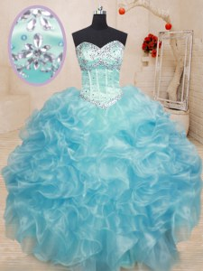 Free and Easy Organza Sweetheart Sleeveless Lace Up Beading and Ruffles Quince Ball Gowns in Aqua Blue