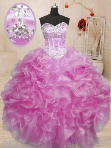 Fantastic Sleeveless Floor Length Beading and Ruffles Lace Up 15th Birthday Dress with Lilac