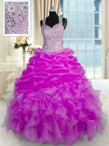 Stunning Organza and Taffeta Straps Sleeveless Zipper Beading and Ruffles and Pick Ups Vestidos de Quinceanera in Fuchsia