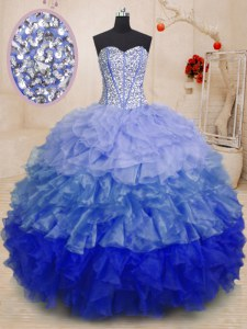 Multi-color Organza Lace Up Sweetheart Sleeveless Floor Length Vestidos de Quinceanera Beading and Ruffles