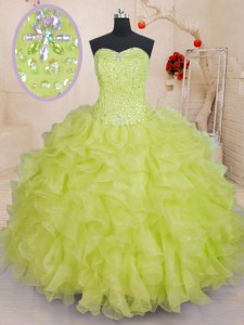 Perfect Yellow Green Ball Gowns Beading and Ruffles 15th Birthday Dress Lace Up Organza Sleeveless Floor Length