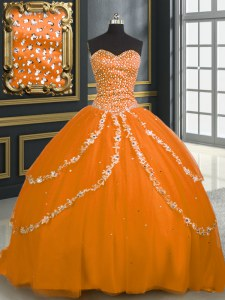 Orange Tulle Lace Up Sweetheart Sleeveless With Train Sweet 16 Dresses Brush Train Beading and Appliques