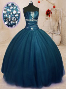 Captivating Navy Blue Ball Gowns Strapless Sleeveless Tulle Floor Length Lace Up Beading Vestidos de Quinceanera