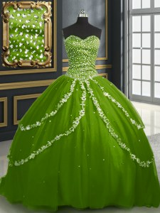 Olive Green Sweetheart Neckline Beading and Appliques Quinceanera Gown Sleeveless Lace Up