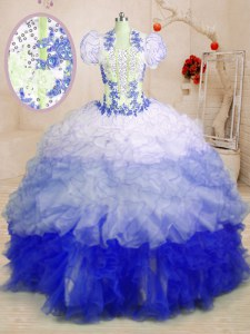 Flirting Sweetheart Sleeveless Brush Train Lace Up Quinceanera Dresses Multi-color Organza