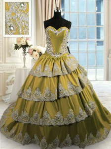 Custom Fit With Train Lace Up Ball Gown Prom Dress Olive Green for Military Ball and Sweet 16 and Quinceanera with Beading and Appliques and Ruffled Layers