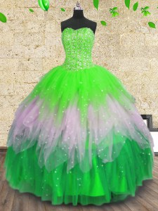 Multi-color Sweetheart Neckline Beading and Ruffles and Sequins Sweet 16 Quinceanera Dress Sleeveless Lace Up