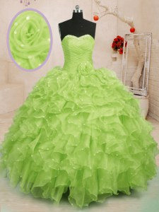 Nice Yellow Green Ball Gowns Organza Sweetheart Sleeveless Beading and Ruffles and Hand Made Flower Floor Length Lace Up Sweet 16 Quinceanera Dress
