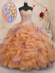 Orange Lace Up Vestidos de Quinceanera Beading and Ruffles Sleeveless With Brush Train