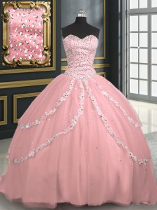 Cute Sleeveless Brush Train Beading and Appliques Lace Up Sweet 16 Dress
