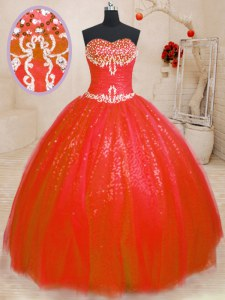Luxurious Ball Gowns Quinceanera Dresses Red Sweetheart Tulle and Sequined Sleeveless Floor Length Lace Up
