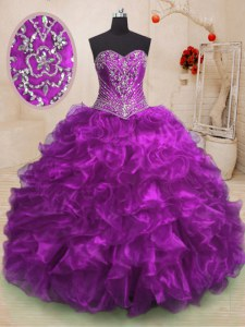 Organza Sleeveless With Train Quinceanera Dress Sweep Train and Beading and Ruffles
