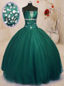 Luxury Dark Green Tulle Lace Up Strapless Sleeveless Floor Length Quinceanera Gowns Beading