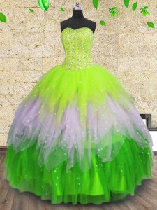 Beauteous Multi-color Sleeveless Beading and Ruffles and Sequins Floor Length Quinceanera Dresses