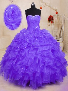 Edgy Purple Sweetheart Neckline Beading and Ruffles and Hand Made Flower 15th Birthday Dress Sleeveless Lace Up