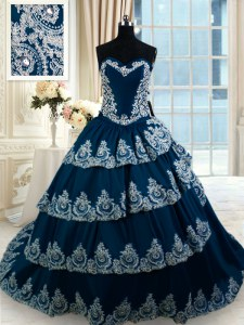 Fitting Sweetheart Sleeveless 15 Quinceanera Dress With Train Court Train Beading and Appliques and Ruffled Layers Navy Blue Taffeta