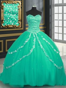Glorious Turquoise Lace Up Vestidos de Quinceanera Beading and Appliques Sleeveless With Brush Train