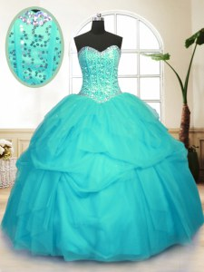 Tulle Sweetheart Sleeveless Lace Up Sequins and Pick Ups Sweet 16 Dress in Aqua Blue