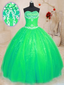 Green Tulle and Sequined Lace Up Sweetheart Sleeveless Floor Length 15th Birthday Dress Beading